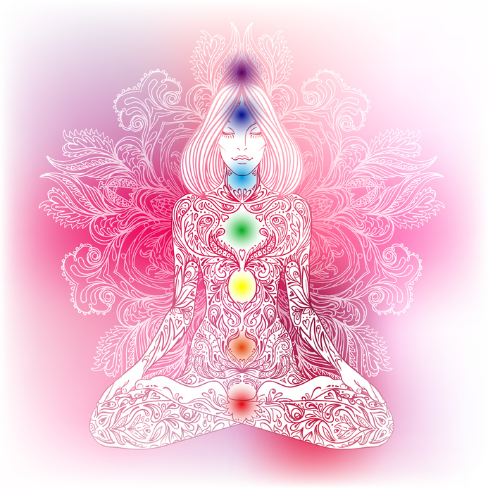 Woman ornate silhouette sitting in lotus pose. Meditation, aura and chakras. Vector illustration.