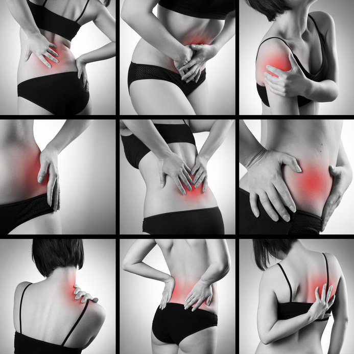Pain in a woman's body on gray background. Collage of several photos